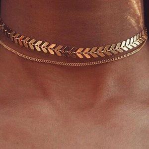 Boho Chevron Layered Choker Necklace